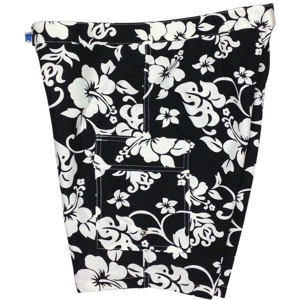 """Pure Hibiscus"" Womens Board Shorts - Lower Rise / 11"" Inseam (Black, Navy, or Purple) - Board Shorts World - 1"