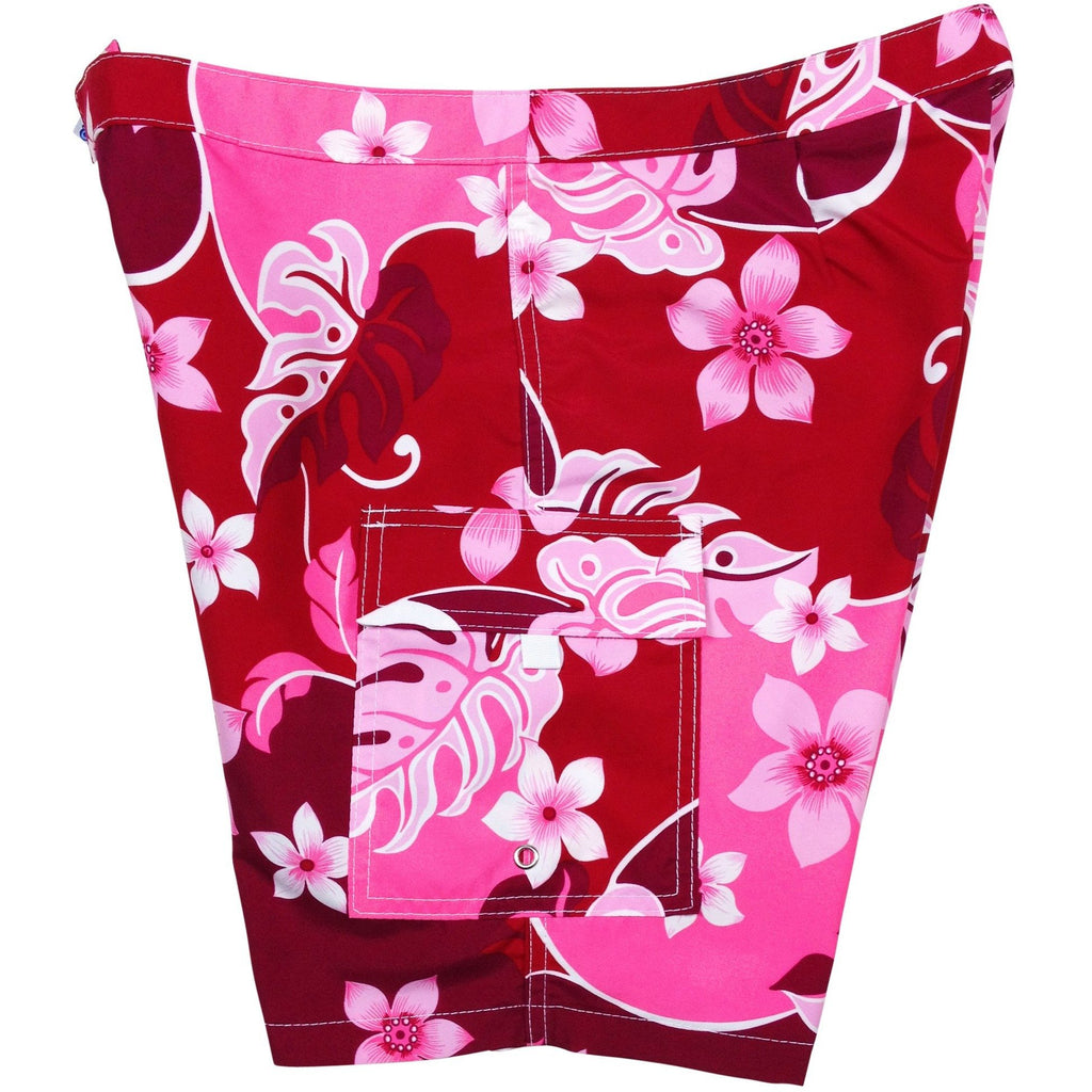 """Puzzled"" Womens Board Shorts - Lower Rise / 11"" Inseam (Pink or Periwinkle) - Board Shorts World - 1"