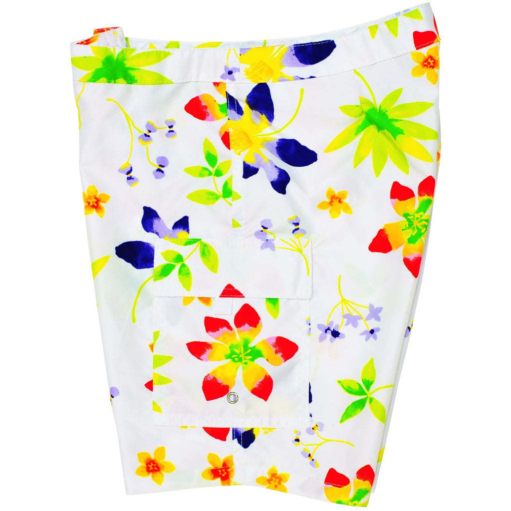 """Watercolors"" Womens Board Shorts - Lower Rise / 11"" Inseam (White) - Board Shorts World"