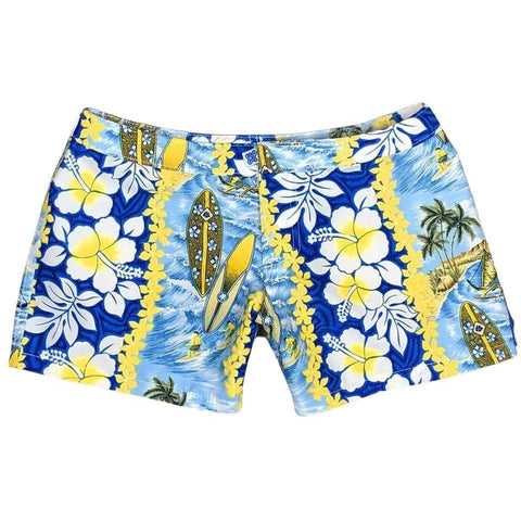 """Bonus Round"" Womens Board Shorts - Lower Rise / 4"" Inseam (Blue)"