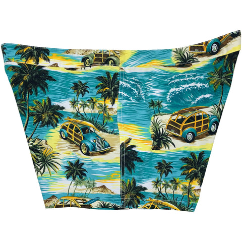"""Getaway Car"" (Teal) Woodies Womens Board/Swim Shorts - 4"""