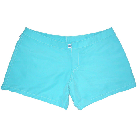 """A Solid Color"" Women's (Swim) Board Shorts - Lower Rise / 4"" Inseam (Aqua, Hot Pink, Light Pink, Grape, Pacific, Baby Blue, Red or Turquoise) - Board Shorts World - 1"