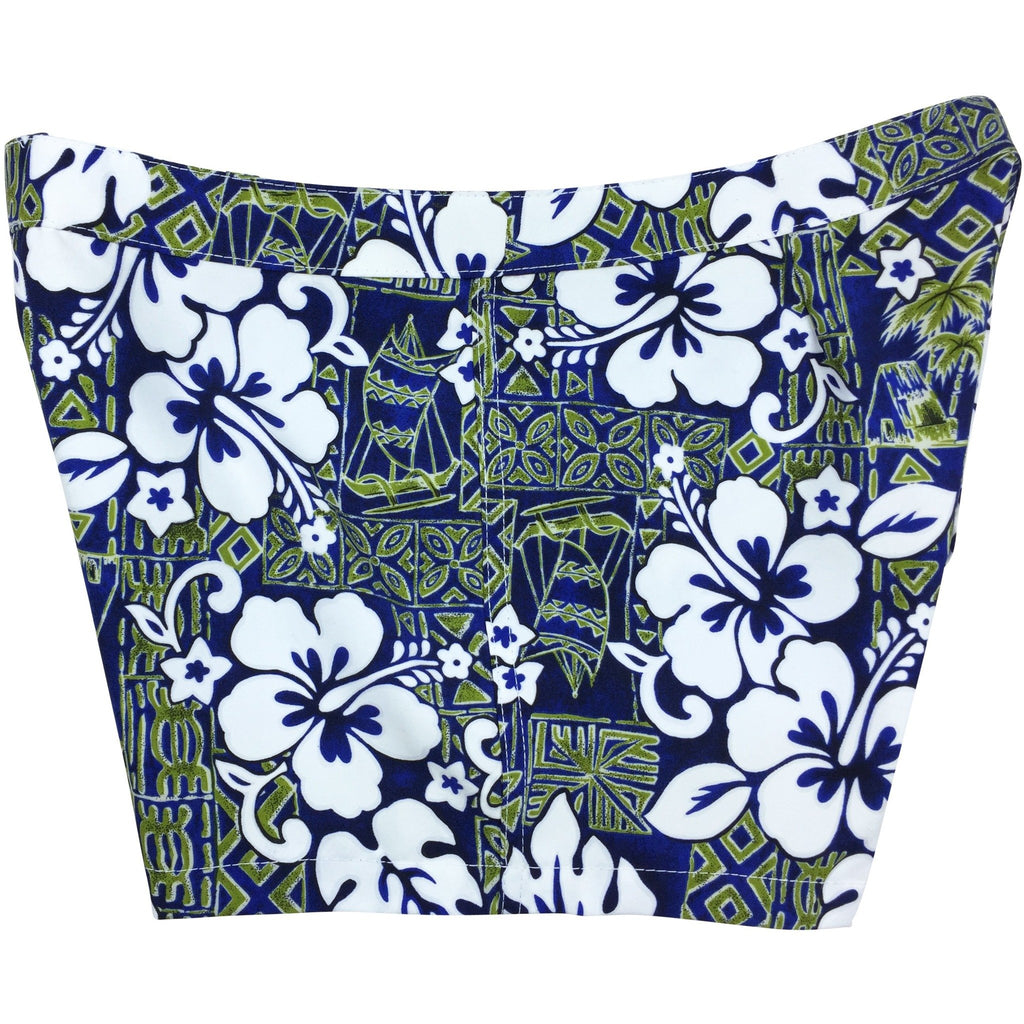 "***NEW***  ""Tiki Village"" Womens Board Shorts - Lower Rise / 4"" Inseam (Navy+Sage)"