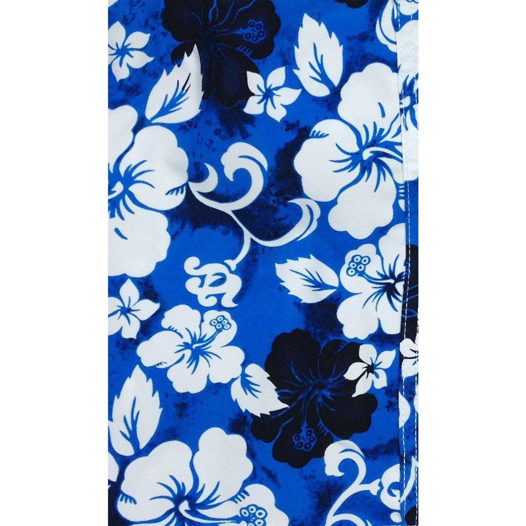 """ Jungle Boogie"" Womens Board (Swim) Capris - ELASTIC Waist  + Regular Rise + 23"" Inseam (Blue) - Board Shorts World"