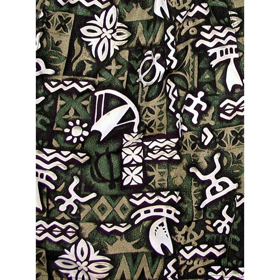 "Fixed (Non Elastic) Waist Womens Board Shorts ""Jungle Cruise"" (Olive) * CUSTOM *"