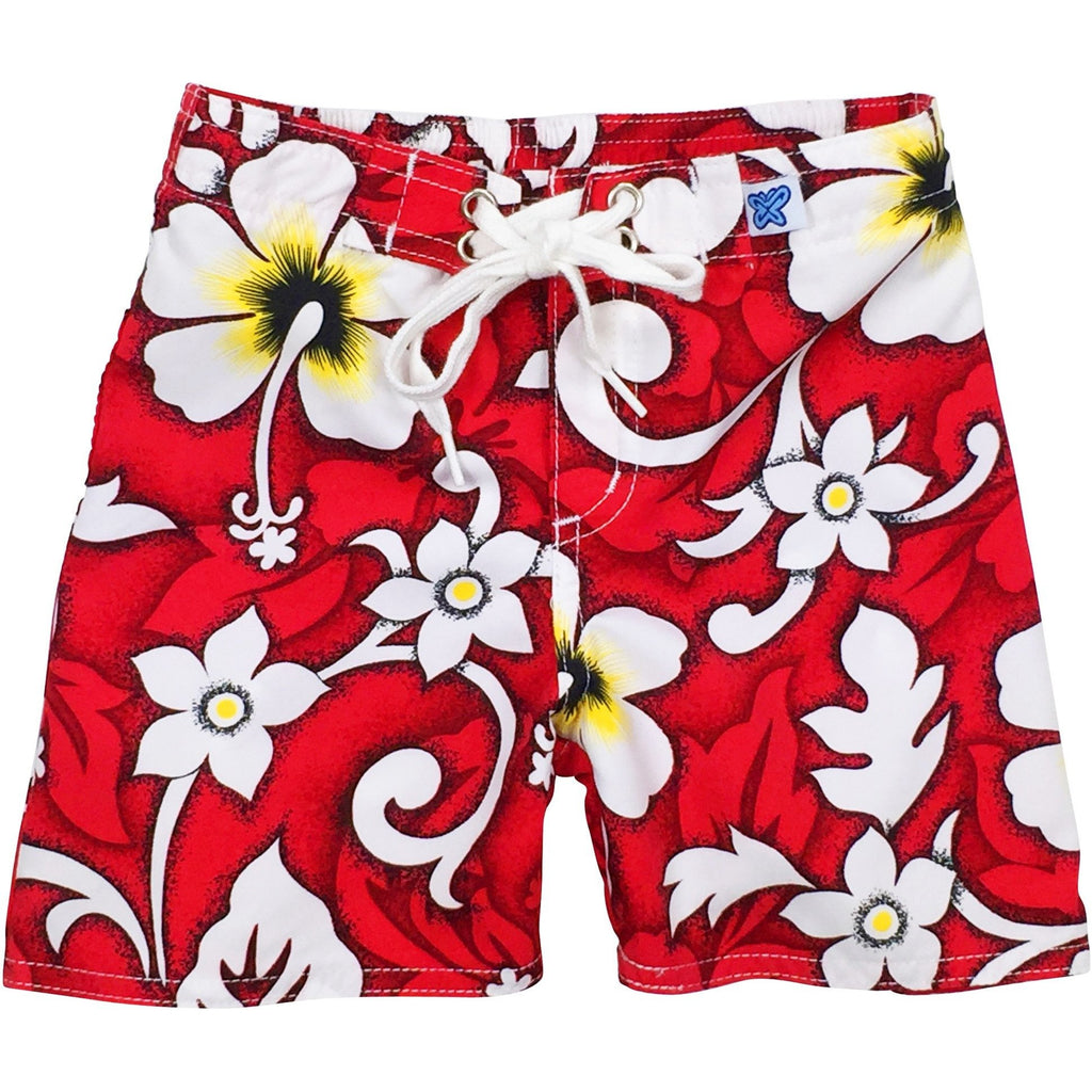 """Charm School"" Board Shorts for Little Boys + Girls (Red, Blue, or Charcoal) - Board Shorts World - 1"