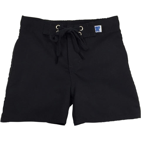 """Lost Weekend"" Board Shorts for Little Boys + Girls (Black+Black Stitch, Black+White Stitch, Navy, Charcoal, or Silver) - Board Shorts World - 1"