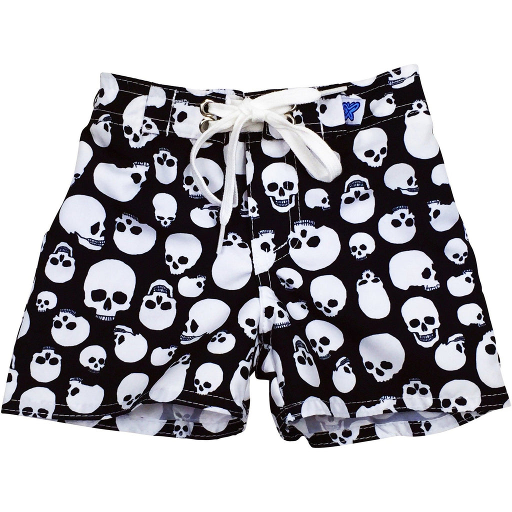 """Live to Ride"" Skulls Print Board Shorts for Little Boys + Girls (Black+White, Black+Red, Black+Charcoal) - Board Shorts World - 1"