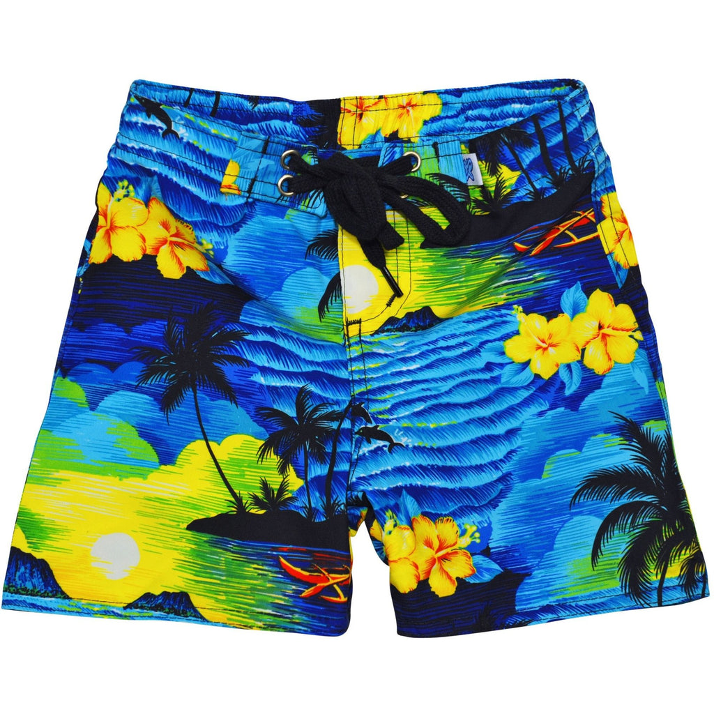 """Picture This"" Board Shorts for Little Boys + Girls (Blue, Charcoal, or Purple) - Board Shorts World - 1"