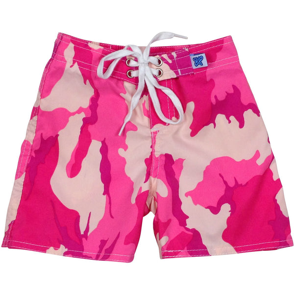 """Stealth Fanatic"" Camo Print Board Shorts for Little Boys + Girls (Pink, Sand+Baby Blue, Sand+Brown, Charcoal, Traditional, or Moss) - Board Shorts World - 1"