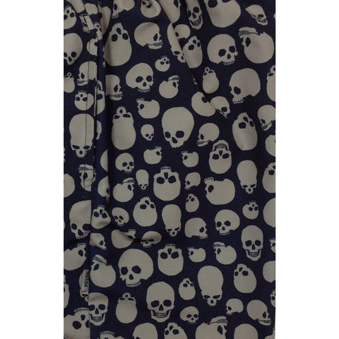 """Live to Ride"" Skulls Mens Elastic Waist Board Shorts - 22"" Outseam / 9.5"" Inseam (Black+Charcoal) - Board Shorts World"