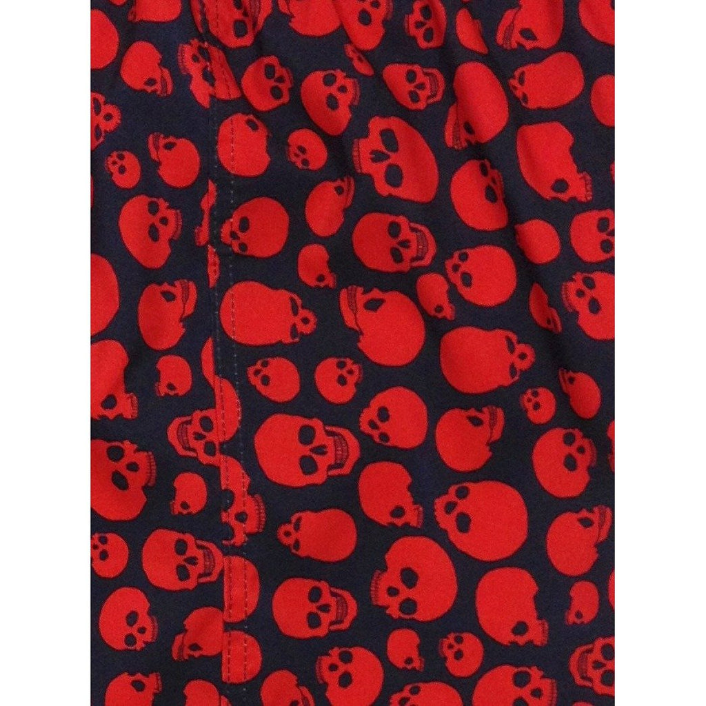 """Live to Ride"" Skulls Print Womens Elastic Waist Swim Board Shorts. HIGH Rise + 5"" Inseam (Black+Red) - Board Shorts World"