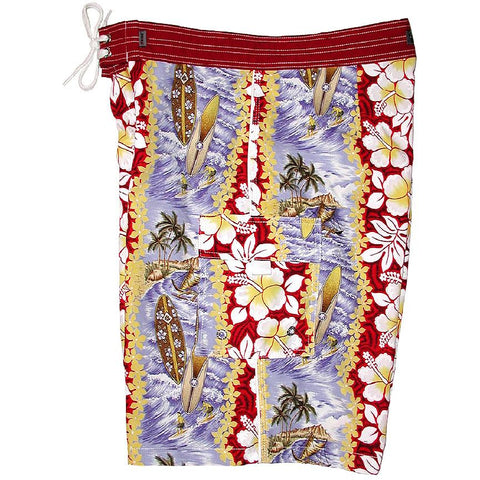 """Bonus Round"" Mens Board Shorts - 22"" Outseam / 9.5"" Inseam (Red) *SALE* - Board Shorts World"