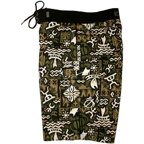 """Jungle Cruise"" Mens Board Shorts - 22"" Outseam / 9.5"" Inseam (Olive) - Board Shorts World"