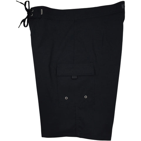 """A Solid Color"" Mens Board Shorts - 22"" Outseam / 9.5"" Inseam (Black+Black Stitching, Chocolate, Charcoal, Dark Olive or Navy) - Board Shorts World - 1"