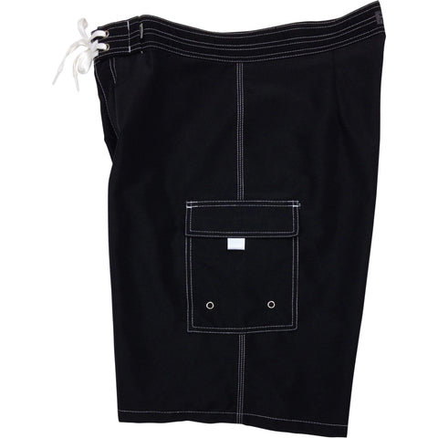 """A Solid Color"" BEST SELLING Black (white stitching) Double Cargo Pocket Board Shorts (Select Custom Outseam 22"" - 27"") - Board Shorts World"