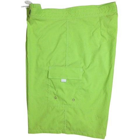 """A Solid Color"" Mens Board Shorts - 22"" Outseam / 9.5"" Inseam (Citron, Apple, Grape, Hot Pink, or Orange) - Board Shorts World - 1"