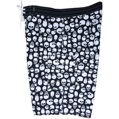"""Live to Ride"" Skulls Print Mens Board Shorts - 22"" Outseam / 9.5"" Inseam (Black+White)"
