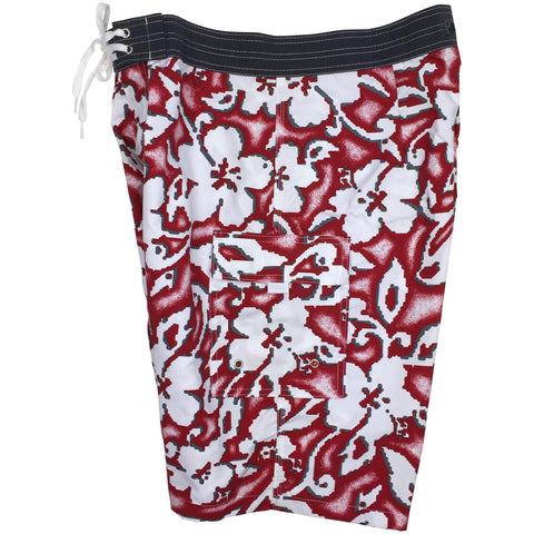 """Magnified"" (Red) Double Cargo Pocket Board Shorts (Select Custom Outseam 22"" - 27"")"