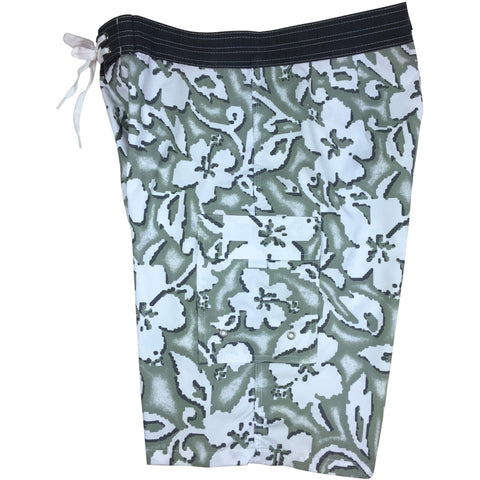 "**Fixed (Non Elastic) Waist Board Shorts ""Magnified"" (Cement) Print Mens CUSTOM"