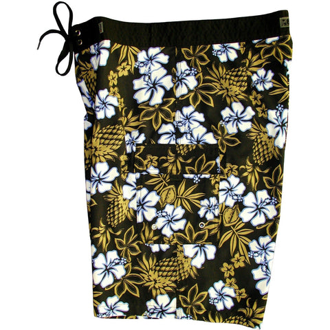 """North Shore"" Mens Board Shorts - 22"" Outseam / 9.5"" Inseam (Black+Khaki) - Board Shorts World"
