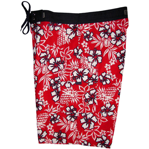 """North Shore"" Mens Board Shorts - 22"" Outseam / 9.5"" Inseam (Red) - Board Shorts World"