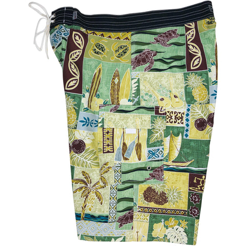 "***NEW*** ""3-Day Weekend"" (Green) Mens Board Shorts - 22"" Outseam / 9.5"" Inseam - Board Shorts World"