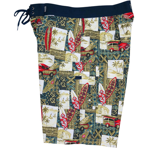 "***NEW*** ""Postcard"" (Green) Mens Board Shorts - 22"" Outseam / 9.5"" Inseam - Board Shorts World"