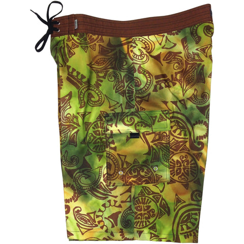"Fixed (Non Elastic) Waist Board Shorts ""Pacific Whim"" Print Mens CUSTOM (Earth or Ink) - Board Shorts World - 1"
