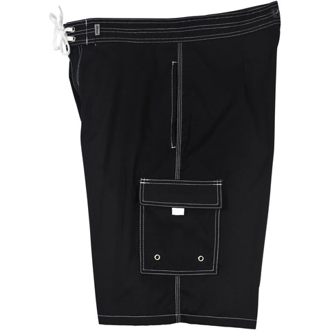 """Pack Rat"" Solid Colors Mens 10.5"" inseam / 23.5"" outseam 4-Pocket Board Shorts (Double Cargo + Side Seam Pockets) / Black, Pacific, Navy, Charcoal, or Hot Pink - Board Shorts World - 1"