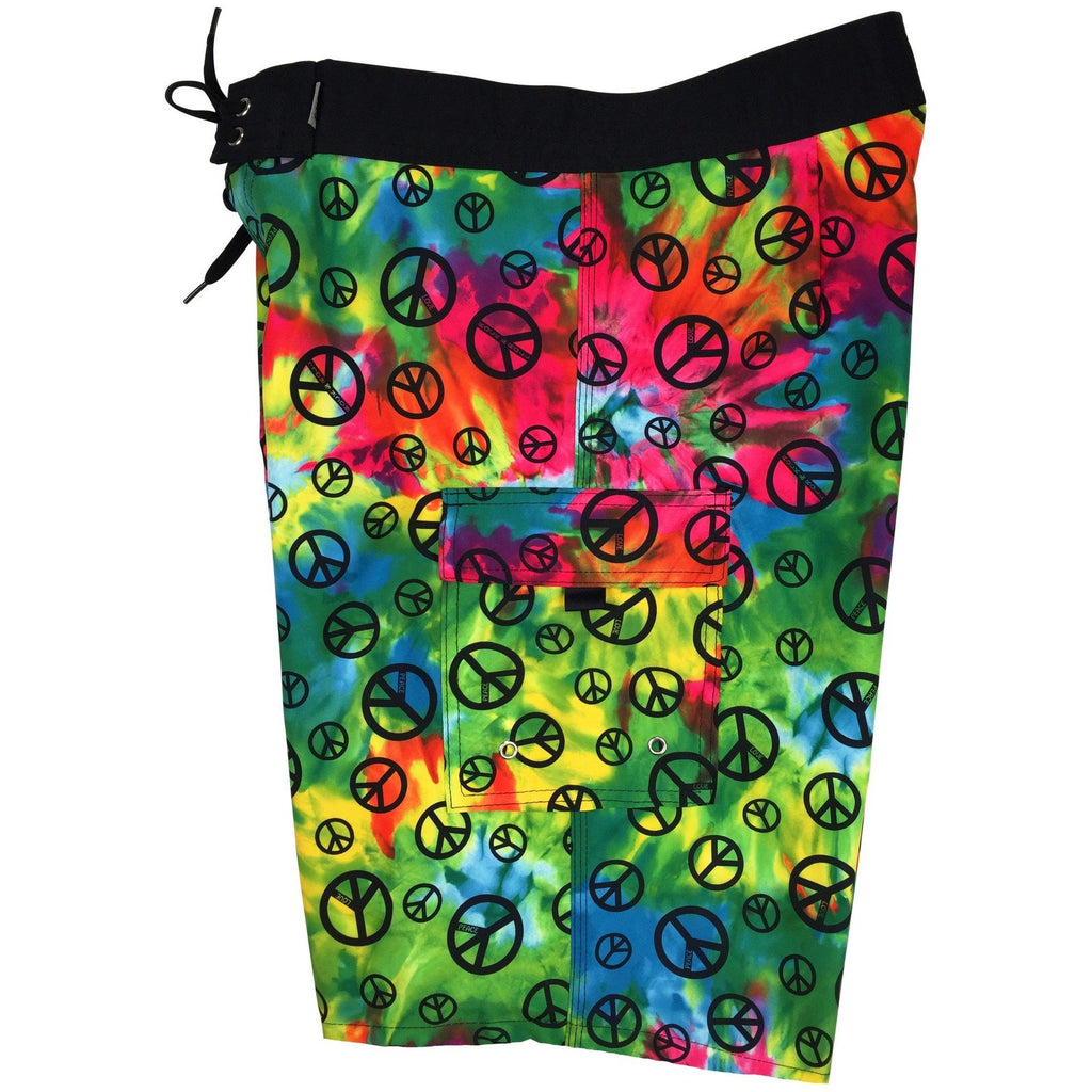 """Sign Language"" Tie Dye Mens Board Shorts. 22"" Outseam / 9.5"" Inseam. Double Cargo. - Board Shorts World"