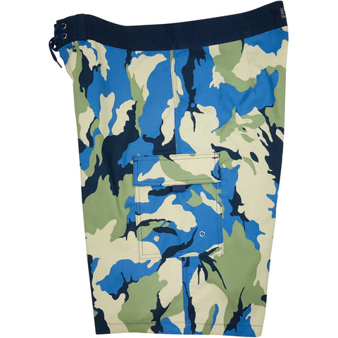 "**NEW** ""Stealth Fanatic"" Camoflage Mens Board Shorts - 22"" Outseam / 9.5"" Inseam (Sand+Baby Blue)"