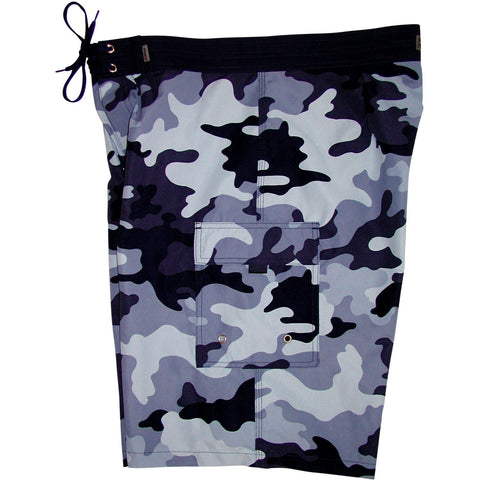 """Stealth Fanatic"" Camoflage Mens Board Shorts - 22"" Outseam / 9.5"" Inseam (Blue or Charcoal) - Board Shorts World - 1"