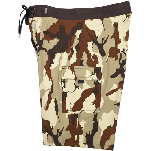 """Stealth Fanatic"" Camoflage Mens Board Shorts - 22"" Outseam / 9.5"" Inseam (Sand+Brown or Sand+Baby Blue) - Board Shorts World - 1"