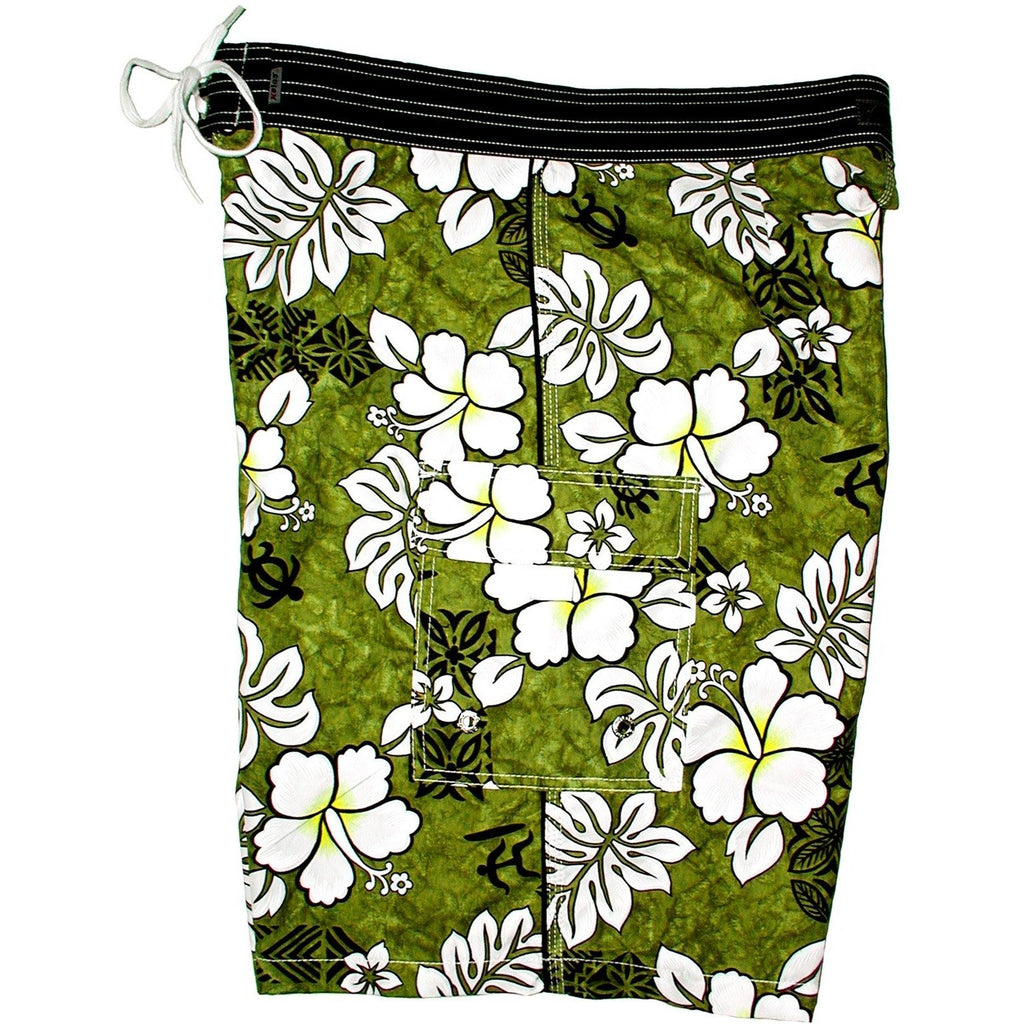 """Tribal Council"" Mens Board Shorts - 22"" Outseam / 9.5"" Inseam (Olive) - Board Shorts World"