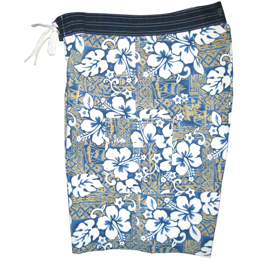 """Tiki Village"" Mens Board Shorts - 22"" Outseam / 9.5"" Inseam (Sea Teal or Navy+Sage) - Board Shorts World - 1"