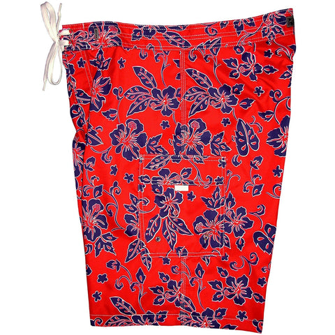 """Warming Trend"" Mens Board Shorts - 22"" Outseam / 9.5"" Inseam (Red+Blue or Red+Yellow) - Board Shorts World - 1"