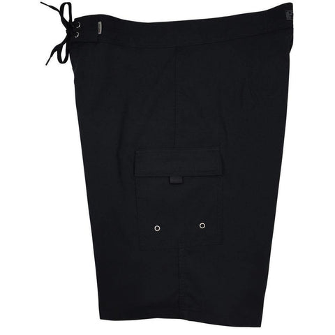 """A Solid Color"" BEST SELLING Black (black stitching) Double Cargo Pocket Board Shorts (Select Custom Outseam 22"" - 27"") - Board Shorts World"