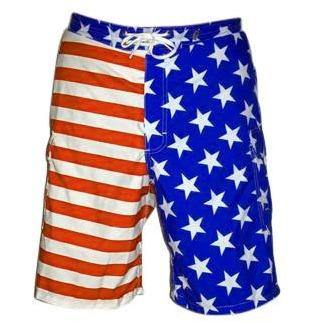"""Old Glory"" Mens Board Shorts - 22"" Outseam / 9.5"" Inseam (Royal stars or Navy stars) - Board Shorts World - 1"