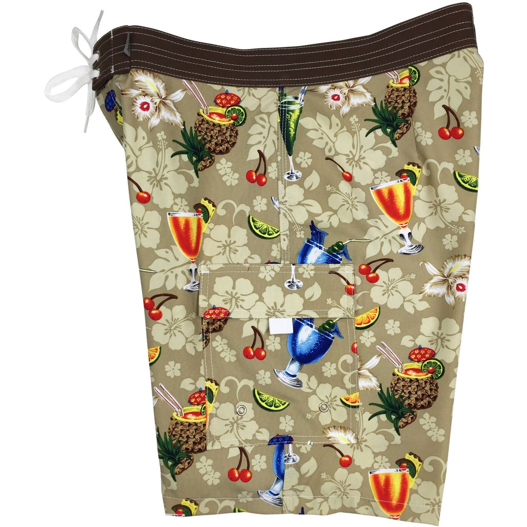 "**Fixed (Non Elastic) Waist Board Shorts ""Hurry Sundown"" (Tan) Print Mens CUSTOM"