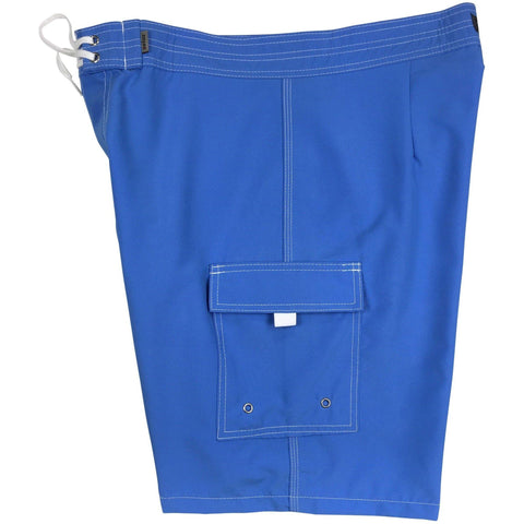 """A Solid Color"" Mens Board Shorts - 19.5"" Outseam / 7"" Inseam (Baby Blue, Forest, Orange, Pacific, or Powder) - Board Shorts World - 1"