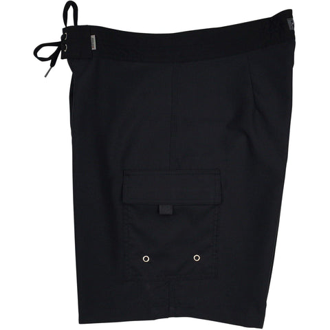 """A Solid Color"" Mens Board Shorts - 19.5"" Outseam / 7"" Inseam (Black+Black Stitching, Chocolate, Charcoal, Dark Olive or Navy) - Board Shorts World - 1"
