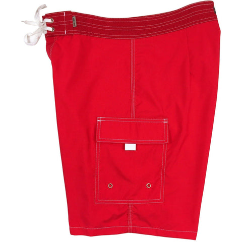 """A Solid Color"" Mens Board Shorts - 19.5"" Outseam / 7"" Inseam (Red, Mango, Silver, Stone, or Turquoise) - Board Shorts World - 1"