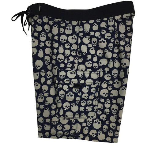"""Live to Ride"" Skulls Mens Board Shorts - 19.5"" Outseam / 7"" Inseam (Black+Charcoal)"
