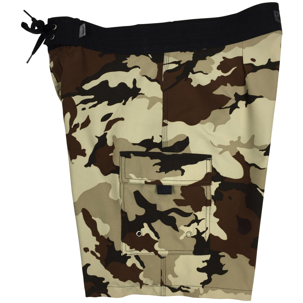 """Stealth Fanatic"" Camo Mens Board Shorts - 19.5"" Outseam / 7"" Inseam (Sand+Brown, Sand+Baby Blue, Traditional, Charcoal, or Moss) - Board Shorts World - 1"