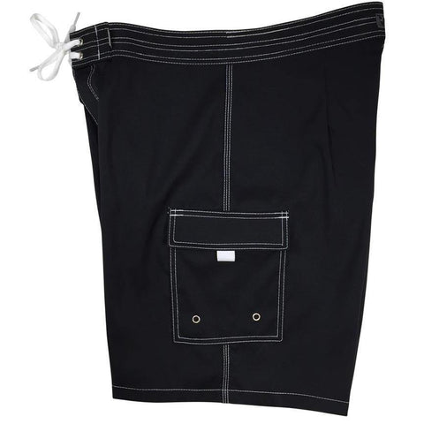 """A Solid Color"" Mens Board Shorts - 19.5"" Outseam / 7"" Inseam (Black+White Stitching)"