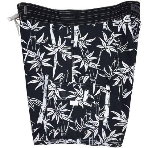 """Branch Out"" Mens Board Shorts w/ Dual Cargo Pockets.  17.5"" Outseam / 5"" Inseam (Black or Navy) - Board Shorts World - 1"