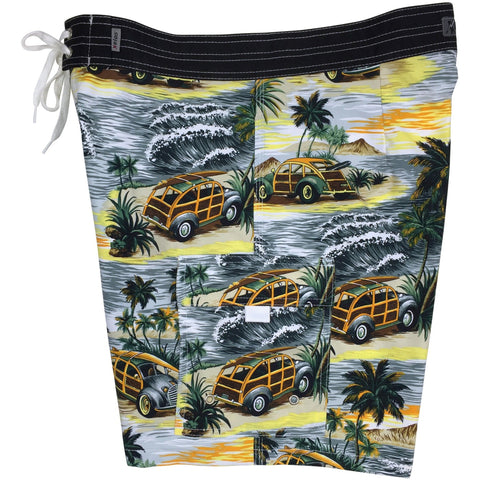 """Getaway Car"" Mens Board Shorts w/ Dual Cargo Pockets.  17.5"" Outseam / 5"" Inseam (Charcoal or Sea Teal) - Board Shorts World - 1"