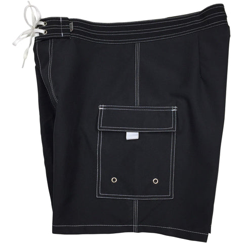 """A Solid Color"" Mens Board Shorts w/ Dual Cargo Pockets.  17.5"" Outseam / 5"" Inseam (Black+White Stitching) - Board Shorts World"