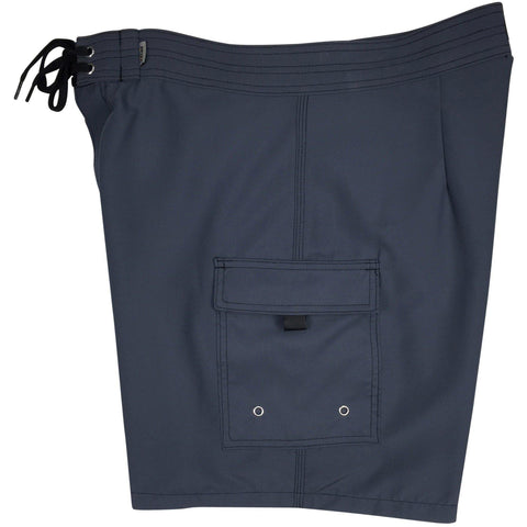 """A Solid Color"" Mens Board Shorts w/ Dual Cargo Pockets.  17.5"" Outseam / 5"" Inseam (Charcoal) - Board Shorts World"